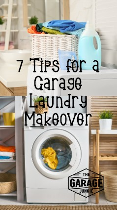 7 Tips for a Garage Laundry Makeover - Is your laundry room also your garage? Spruce up your garage laundry with these 7 tips for a garage laundry makeover.
